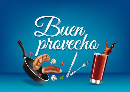 Genießen Sie Ihre Mahlzeit - in spanischer Sprache, Papier Hand Schriftzug Kalligraphie.