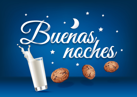 Buenas noches paper hand lettering calligraphy. Vector illustration with food, drink and text.