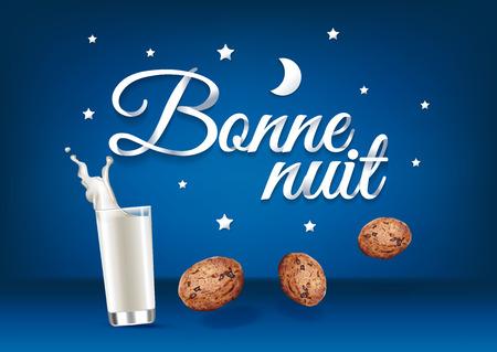 Buenas noches en lengua francesa, caligrafía de letras de mano de papel. Ilustración vectorial con alimentos, bebidas y texto. Ilustración de vector