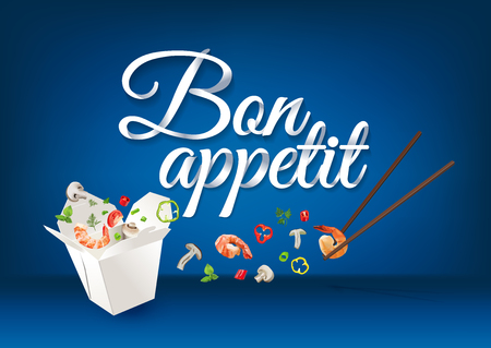 prawns: Bon Appetit - paper hand lettering calligraphy. Vector realistic illustration with food and text. Illustration