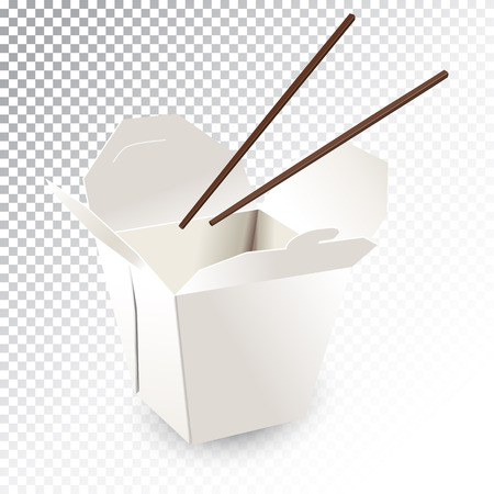 Vector realistic illustration of a fast food box with chopsticks.