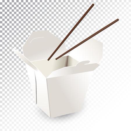 Vector realistische illustratie van een fastfooddoos met eetstokjes.