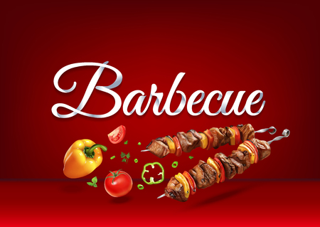 Barbecue paper hand lettering calligraphy. Vector illustration with food objects and text.