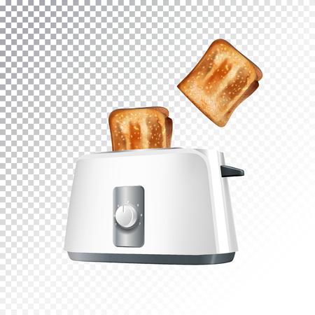 Wektor realistyczne ilustracji toster z tostów. Kolorowe obiekty na przezroczystym tle.