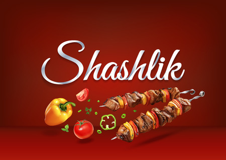 Barbecue Shashlik paper hand lettering calligraphy. Vector illustration with food objects and text.