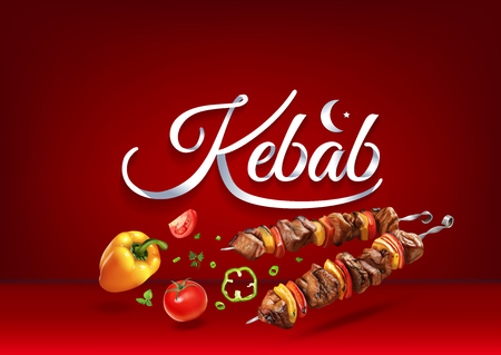 Kebab paper hand lettering calligraphy. Vector illustration with food objects and text. Illustration