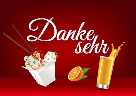 bebes lindos: Gracias en lengua alemana, caligrafía de letras de mano de papel. Ilustración del vector con la comida, los objetos de la bebida y el texto.