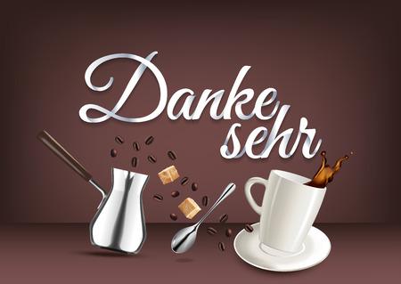 bebes lindos: Gracias en lengua alemana, caligrafía de letras de mano de papel. Ilustración de vector con objetos de café y texto. Vectores