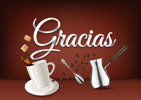 coffee beans: Gracias paper hand lettering calligraphy. Vector illustration with coffee objects and text.