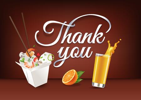 bebes lindos: Gracias a la caligrafía de letras de mano de papel. Ilustración vectorial con comida, bebida y texto.