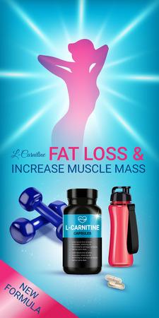 Fat loss L-Carnitine ads Vector realistic illustration