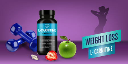 Weight loss L-Carnitine ads Vector realistic illustration Illustration