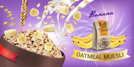 Oatmeal muesli ads. Vector realistic illustration of oatmeal muesli with banana. Horizontal banner with product.