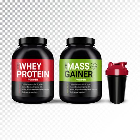 Vector realistische illustratie van shaker en blikjes met verschillende soorten sportvoeding. Kleurrijke voorwerpen op een transparante achtergrond.