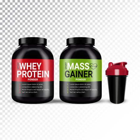 Vector realistic illustration of shaker and cans with various types of sports nutrition. Colorful objects on a transparent background.