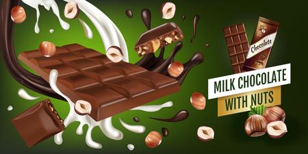 Illustration of milk chocolate. Illustration