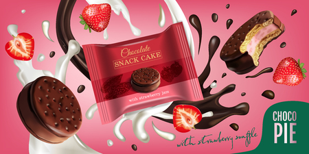 A Vector realistic illustration of chocolate pie with milk and strawberry souffle background design  Horizontal ads poster with sweet.