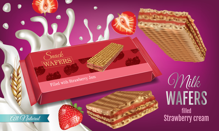 A Vector realistic illustration of milk wafers with strawberry cream on the background . Horizontal ads banner with sweets.