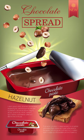 Vector realistic illustration of milk chocolate spread with hazelnuts. Vertical ads poster with product.