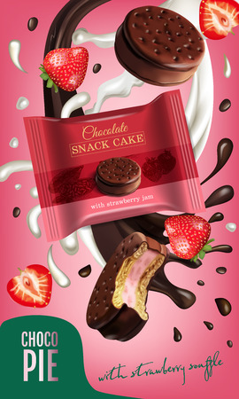 Vector realistic illustration of chocolate pie with milk and strawberry souffle. Vertical ads poster with sweet.