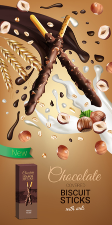 A Vector realistic illustration of chocolate biscuit sticks with hazelnuts. Vertical ads poster for sweets. Иллюстрация