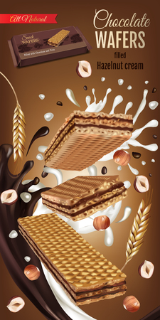 A Vector realistic illustration of milk wafers with chocolate and hazelnuts cream as food wrap background or Vertical ads banner with sweets.