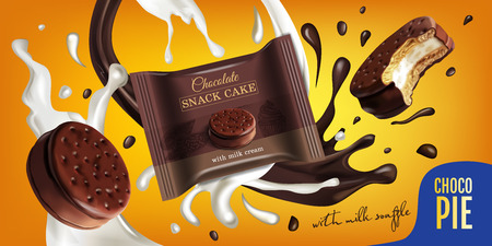 A Vector realistic illustration of chocolate pie with milk souffle. Horizontal ads poster with sweets.