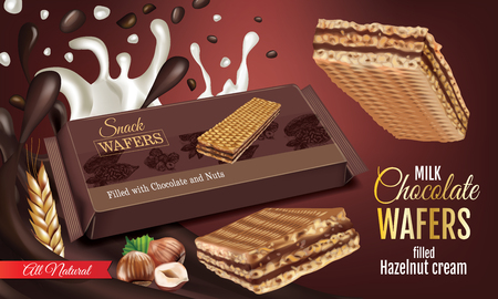 A Vector realistic illustration of milk wafers with chocolate and hazelnuts cream. Horizontal ads poster with sweets.