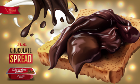A Vector realistic illustration of milk chocolate spread. Horizontal ads poster with bokeh background. Illustration