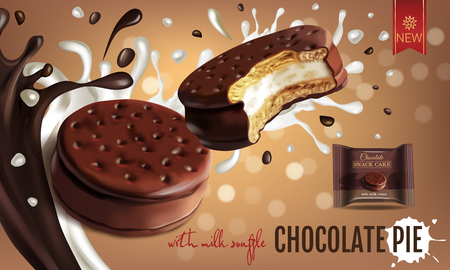 Vector realistic illustration of chocolate pie with milk souffle Vettoriali