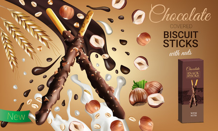Vector realistic illustration of chocolate biscuit sticks with hazelnuts. Horizontal ads poster with sweet.