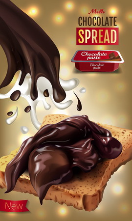 A Vector realistic illustration of milk chocolate spread. Vertical ads poster with bokeh background.