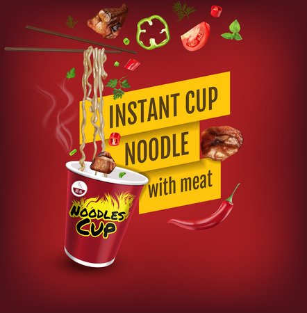 Vector realistic illustration of instant cup noodles with meat. Poster with product.