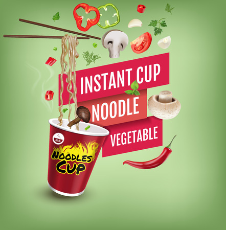 Vector realistic illustration of instant cup noodles with vegetables. Poster with product. Illustration