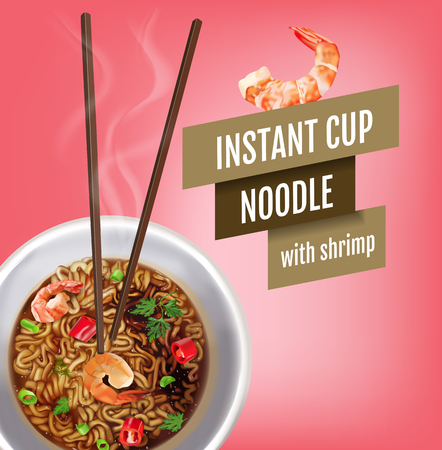 Vector realistic illustration of instant cup noodles with shrimps. Poster with product.