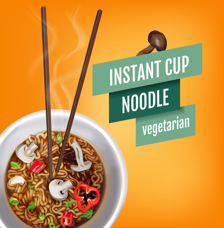 Vector realistic illustration of instant cup noodles with vegetables. Poster with product. Иллюстрация