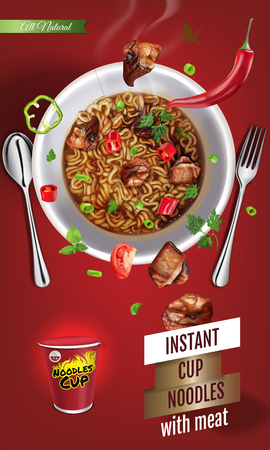 Vector realistic illustration of instant cup noodles with meat vertical banner with product