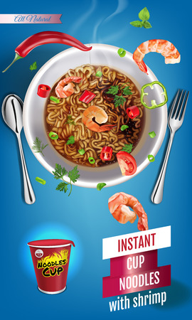 Vector realistic illustration of instant cup noodles with shrimps. Vertical banner with product. Иллюстрация