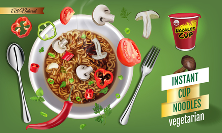 Vector realistic illustration of instant cup noodles with vegetables. Horizontal banner with product.