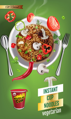 Vector realistic illustration of instant cup noodles with vegetables. Vertical banner with product.