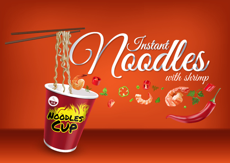 Instant cup noodles with shrimps, paper hand lettering calligraphy. Vector realistic illustration with food and objects of text.