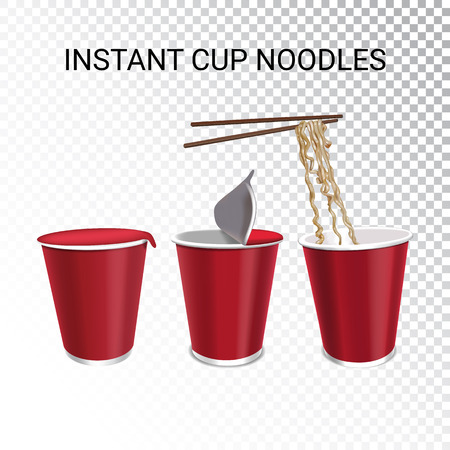 Vector realistic illustration of instant cup noodles with chopstick. Colorful objects on a transparent background.