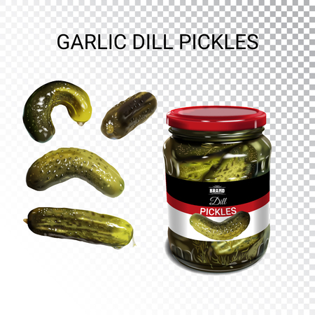 Vector realistic illustration of pickled cucumbers. Colorful objects on a transparent background.