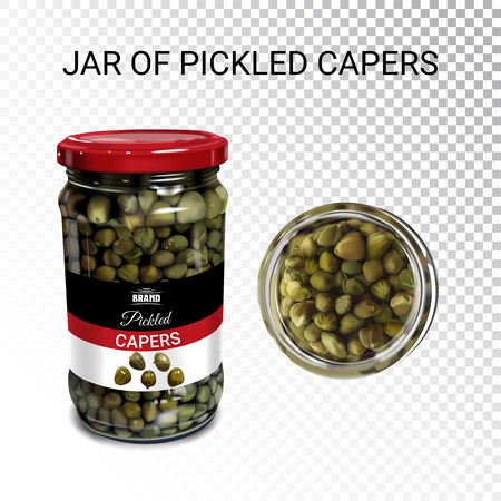 Vector realistic illustration of pickled capers. Colorful objects on a transparent background. Ilustração