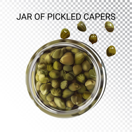 Vector realistic illustration of pickled capers. Colorful objects on a transparent background. Иллюстрация