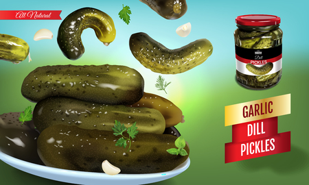 Vector realistic illustration of pickled cucumber. Horizontal banner with pickles. Çizim