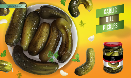 Vector realistic illustration of pickled cucumber. Horizontal banner with pickles. Иллюстрация