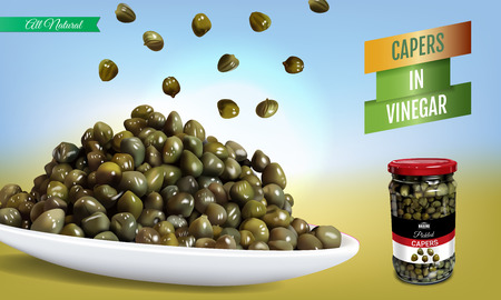Vector realistic illustration of pickled capers. Horizontal banner with product. Иллюстрация