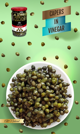 Vector realistic illustration of pickled capers. Vertical banner with product.