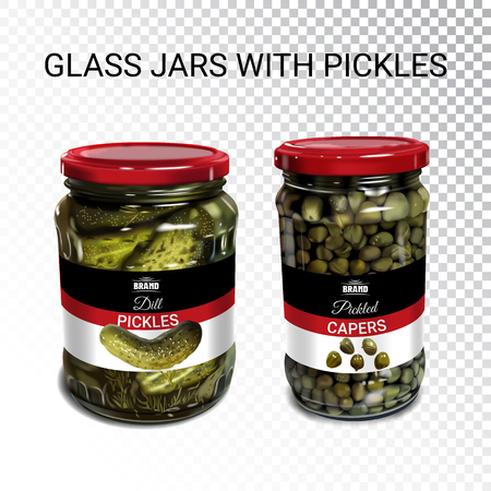 Vector realistic illustration of can with pickled cucumbers and capers. Colorful objects on a transparent background. Иллюстрация